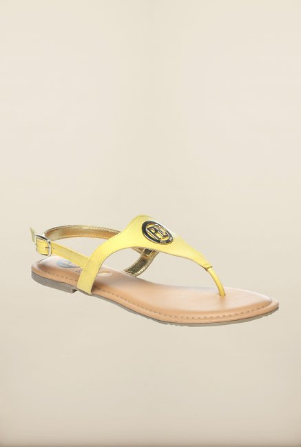 Pavers England Yellow Back Strap Sandals