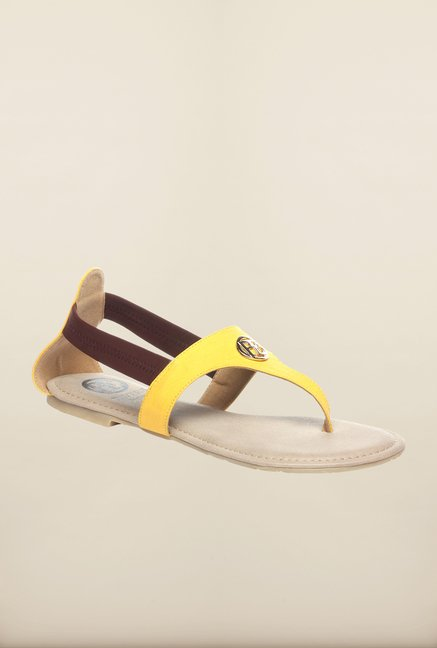 Pavers England Yellow Flat Sandals