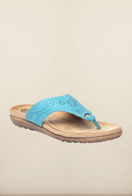Pavers England Blue Platform Slippers