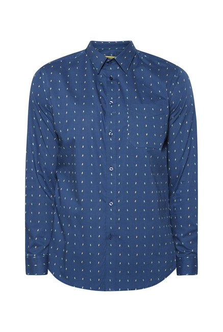 Integriti Navy Slim Fit Printed Shirt