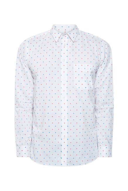 Integriti White Printed Cotton Shirt