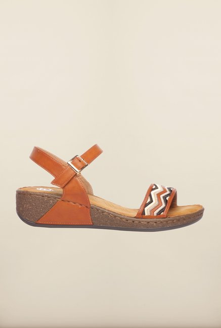 Pavers England Tan Ankle Strap Sandals