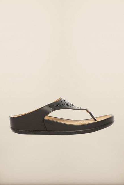 Pavers England Black Platform Sandals