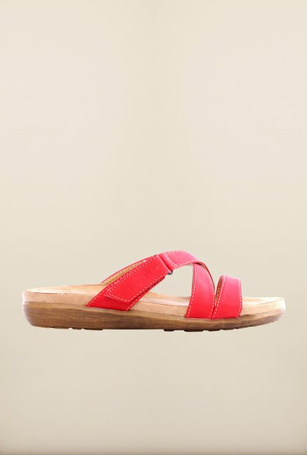 Pavers England Red Cross Strap Sandals