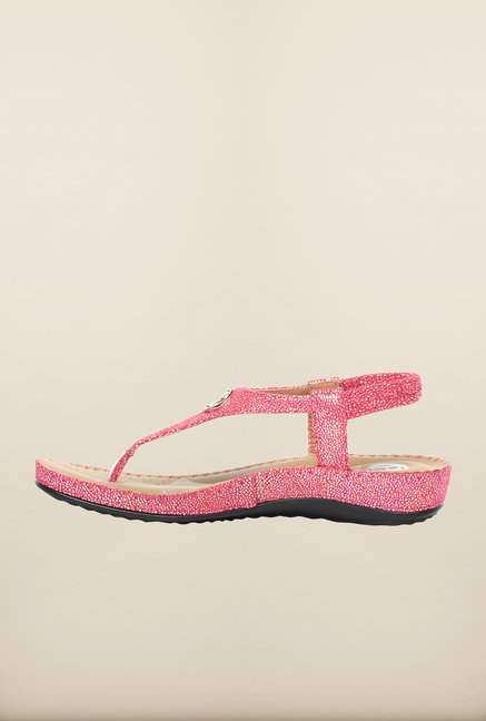 Pavers England Pink T-Strap Sandals