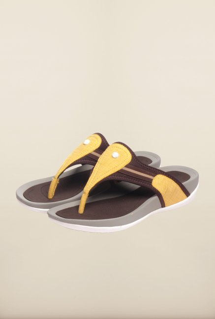 Pavers England Yellow & Brown Slippers