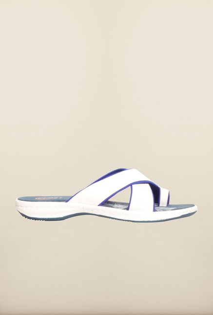 Pavers England White Cross Strap Flat Sandals