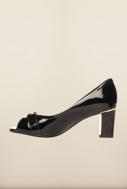 Pavers England Black Peeptoe Shoes