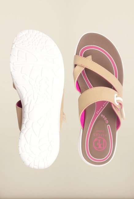 Pavers England Beige Cross Strap Flat Sandals