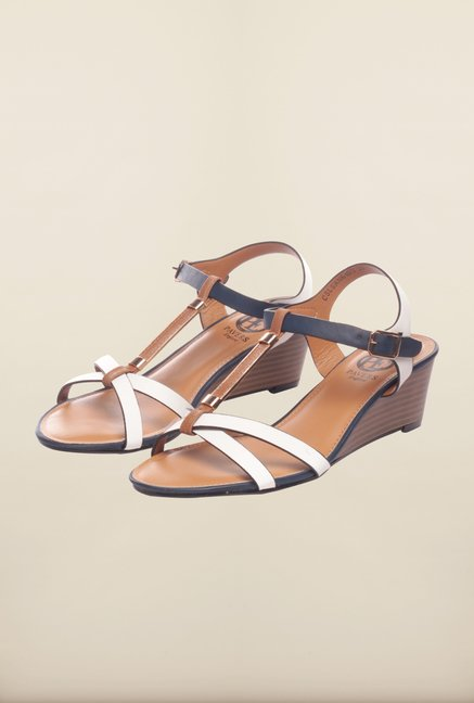 Pavers England White & Brown Ankle Strap Sandals