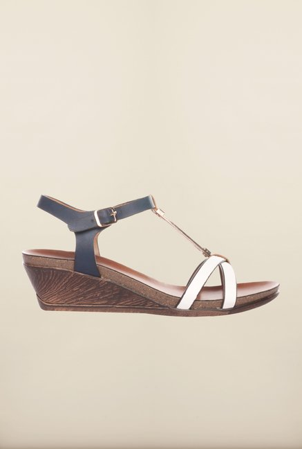 Pavers England White & Navy Ankle Strap Sandals