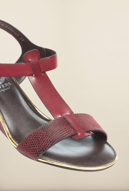 Pavers England Burgundy Ankle Strap Sandals