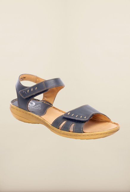 Pavers England Navy Ankle Strap Sandals