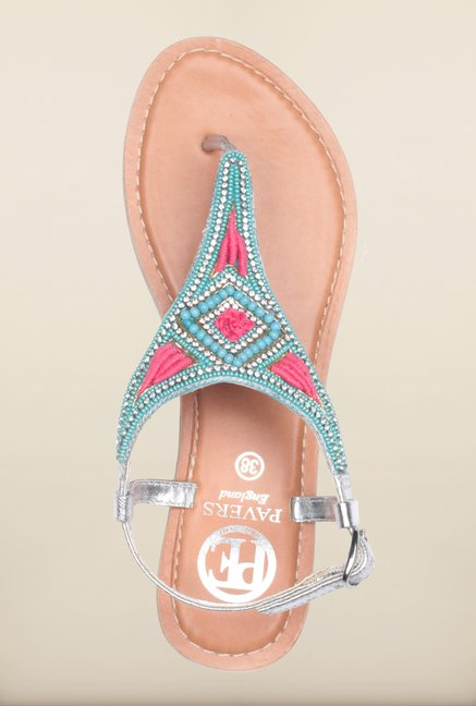 Pavers England Blue Flat Ethnic Sandals