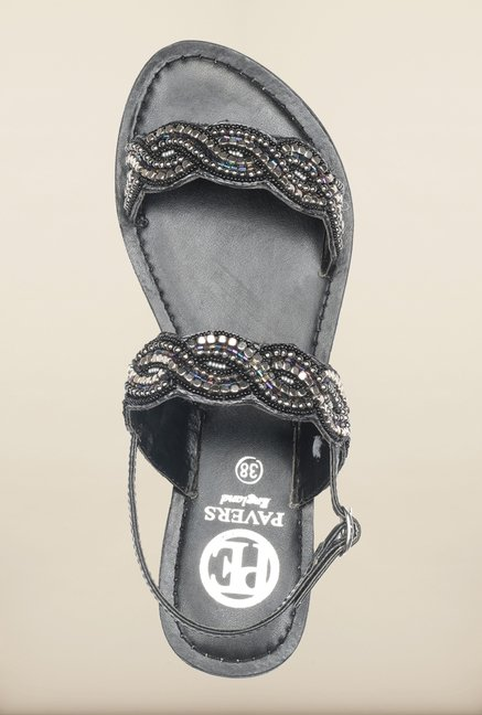 Pavers England Black Flat Ethnic Sandals