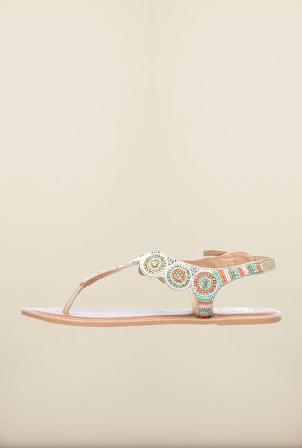 Pavers England Beige Flat Ethnic Sandals