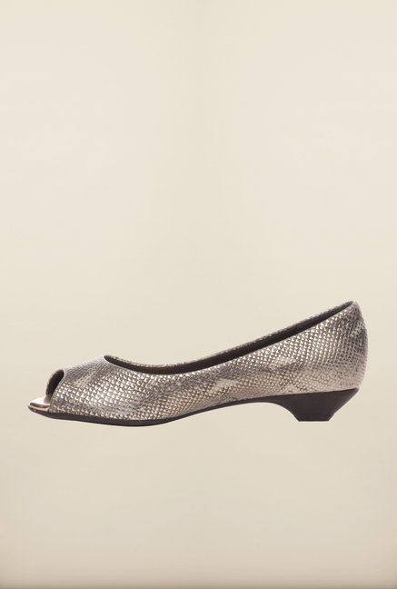 Pavers England Grey Peeptoe Shoes