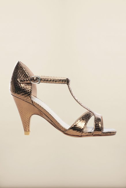 Pavers England Bronze Ankle Strap Sandals