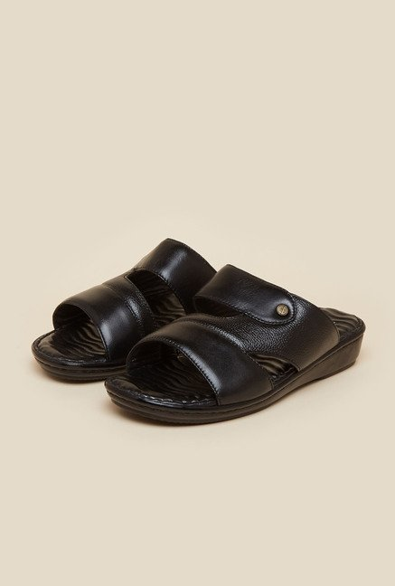 Metro Black Leather Mule Sandals