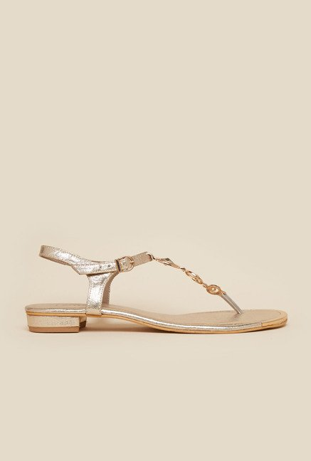 Metro Gold Back Strap Flat Sandals