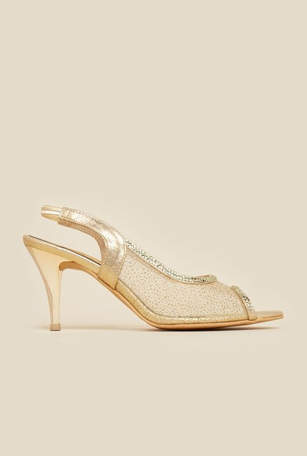 Metro Gold Sling Back Stilettos