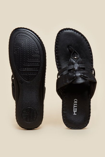 Metro Black Leather Casual Sandals
