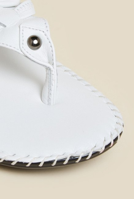 Metro White Leather Casual Sandals