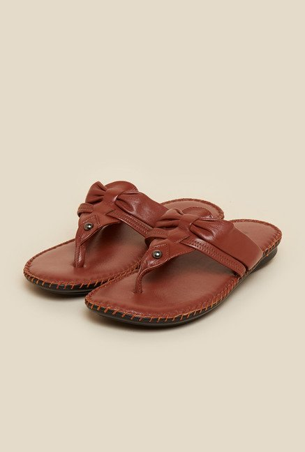 Metro Tan Leather Flat Sandals