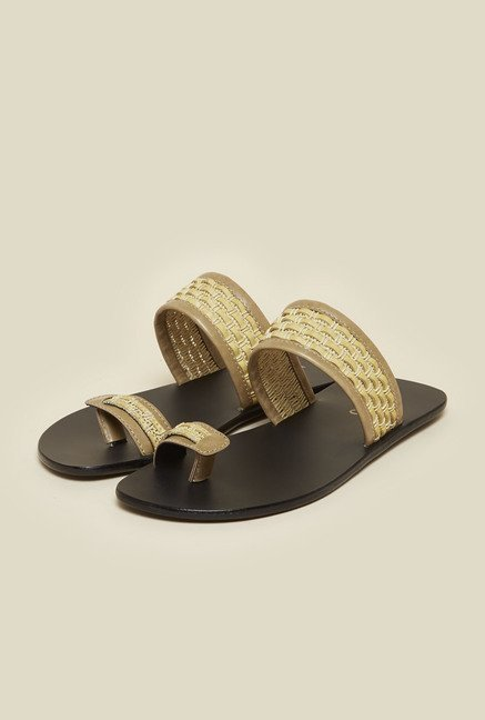Metro Beige Leather Ethnic Sandals