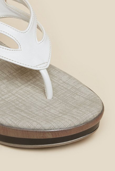 Metro White Casual Wedges