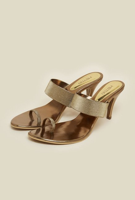 Metro Antique Gold Stiletto Sandals