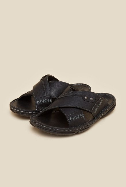 Metro Black Cross Strap Leather Sandals