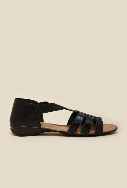 Metro Black Flat Leather Sandals