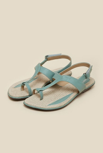 Metro Teal Green Flat Velcro Sandals