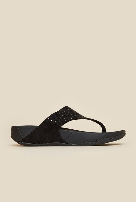 Metro Black Flat Casual Thongs
