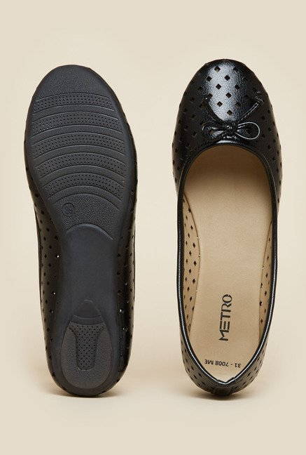 Metro Black Flat Ballerina Shoes