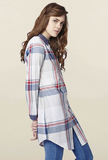 AND White & Blue Checks Tunic