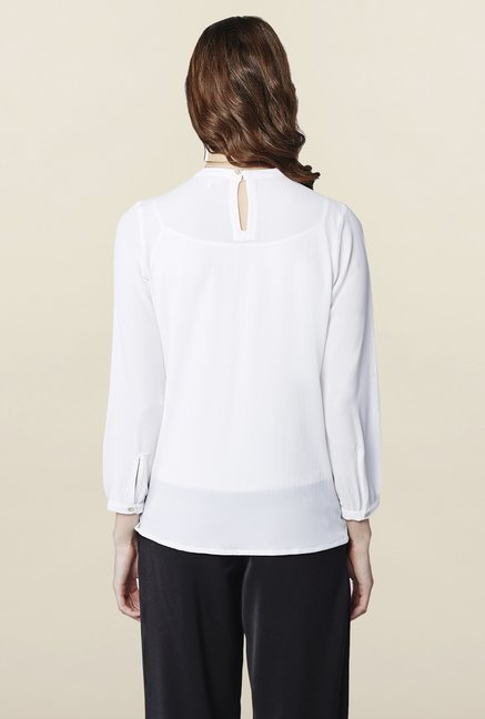 AND White Solid Regular Fit Top