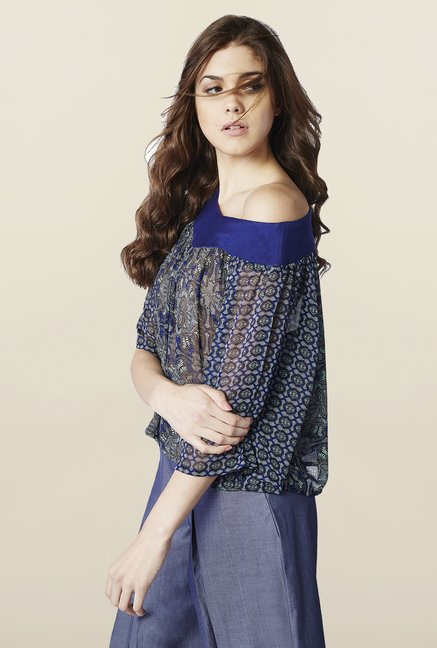 AND Blue Printed Loose Fit Top