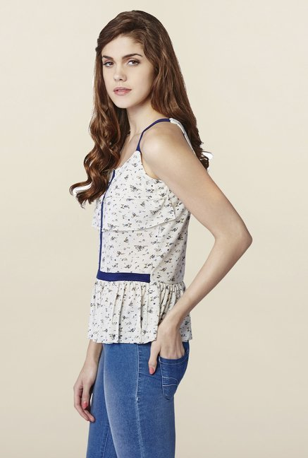 AND White & Blue Printed Top
