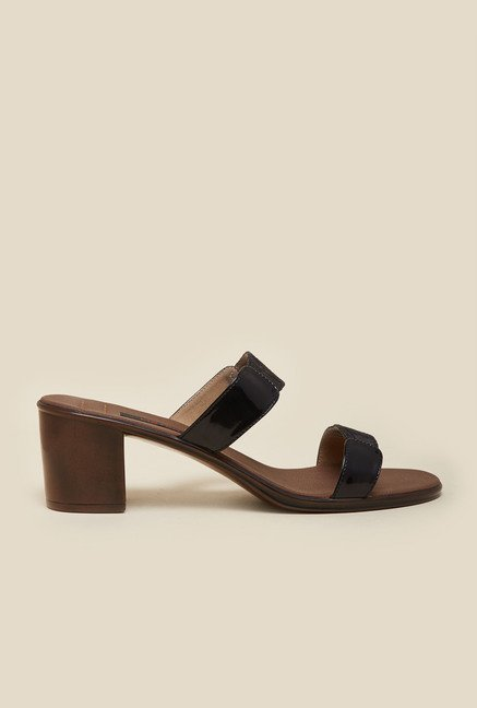 Metro Black Block Heel Sandals