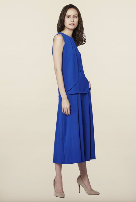 AND Blue Solid Sleeveless Top