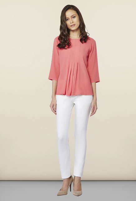 AND Peach Solid Top