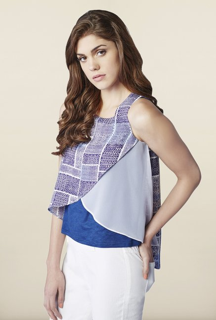 AND Blue Printed Top