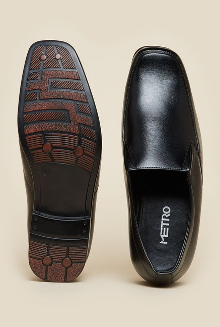 Metro Black Leather Slip-On Shoes