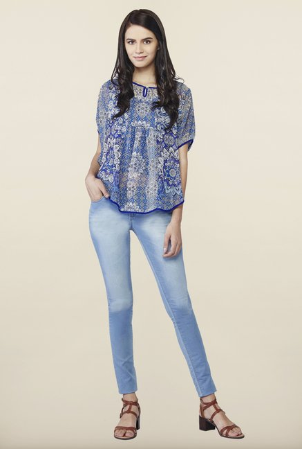 AND Blue Printed Round Neck Top