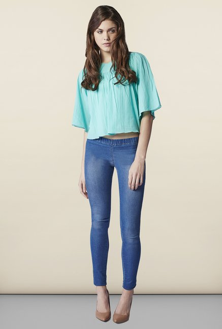 AND Aqua Solid Cotton Top