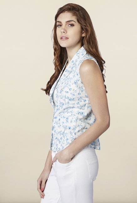 AND White & Blue Floral Print Vest