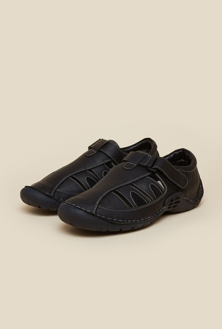 Metro Black Leather Fisherman Sandals