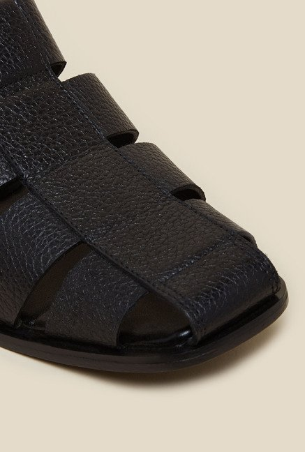 Metro Black Leather Back Strap Sandals